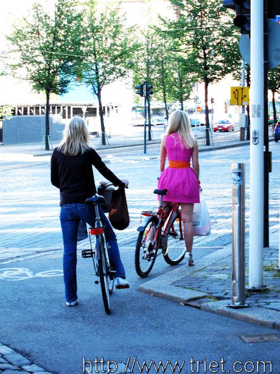 Blonde Cyclists in Helsinki